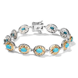 OTO - Limited Edition - Arizona Sleeping Beauty Turquoise (Ovl) Bracelet (Size 7.25) in Platinum and Yellow Gold Overlay Sterling Silver 4.750 Ct.