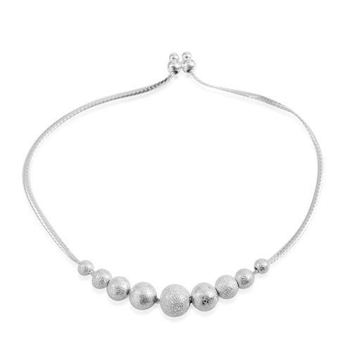 Designer Inspired Sterling Silver Adjustable Ball Beads Bracelet (Size 8.5), Silver wt 4.30 Gms.