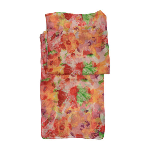 100% Mulberry Silk Orange, Red and Multi Colour Floral Pattern Scarf (Size 180x50 Cm)