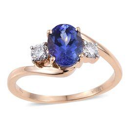 ILIANA 18K Y Gold AAA Tanzanite (Ovl 1.50 Ct), Diamond (SI/G-H) Ring 1.750 Ct.