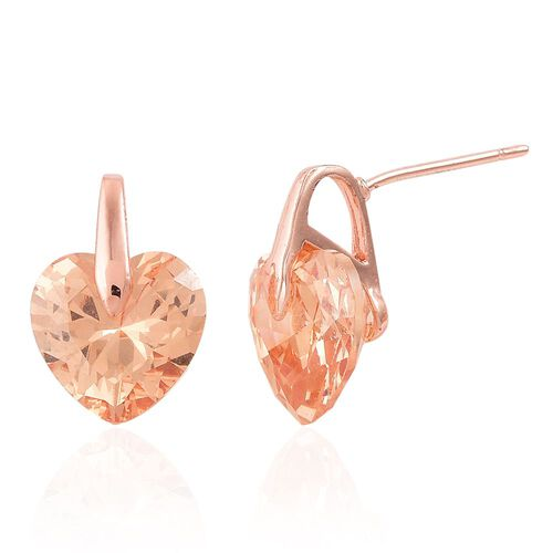 Set of 5 - AAA Simulated Diamond, Simulated Ruby, Simulated Kunzite, Simulated Amethyst and Simulated Champagne Diamond Love Heart Earrings (with Push Back) in Silver, Yellow and Rose Gold Tone