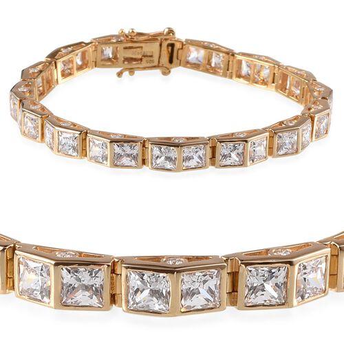 J Francis - 14K Gold Overlay Sterling Silver (Sqr) Bracelet Made With SWAROVSKI ZIRCONIA (Size 7.5) 22.500 Ct.