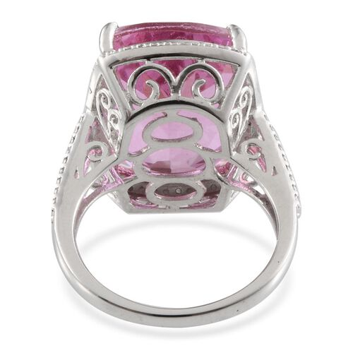 Kunzite Colour Quartz (Cush 20.75 Ct), Diamond Ring in Platinum Overlay Sterling Silver 20.820 Ct.