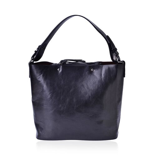 Sienna Black Bucket Bag with Adjustable Shoulder Strap (Size 30x30x14 Cm)