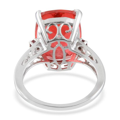 Padparadscha Colour Quartz (Cush 9.90 Ct), Ouro Fino Rubelite Ring in Platinum Overlay Sterling Silver 10.000 Ct.