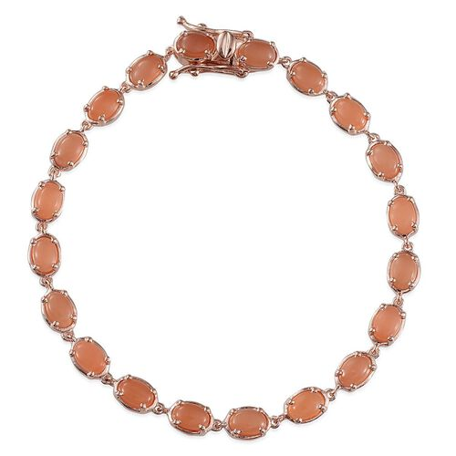 Mitiyagoda Peach Moonstone (Ovl) Bracelet in Rose Gold Overlay Sterling Silver (Size 7.5) 10.000 Ct.
