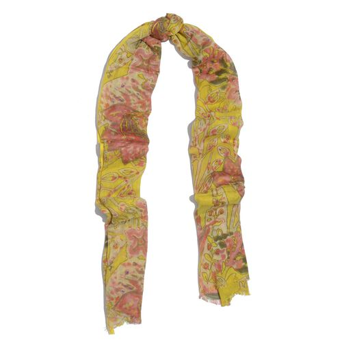 NEW FOR SEASON - 60% Merino Wool and 40% Modal Yellow and Multi Colour Floral Printed Scarf (Size 180x70 Cm)