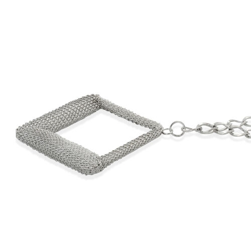 Square Necklace (Size 20) and Hook Earrings in Silver Tone