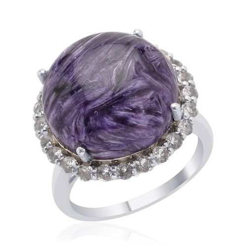 Russian Charoite (Rnd 11.00 Ct), White Topaz Ring in Platinum Overlay Sterling Silver 12.000 Ct.