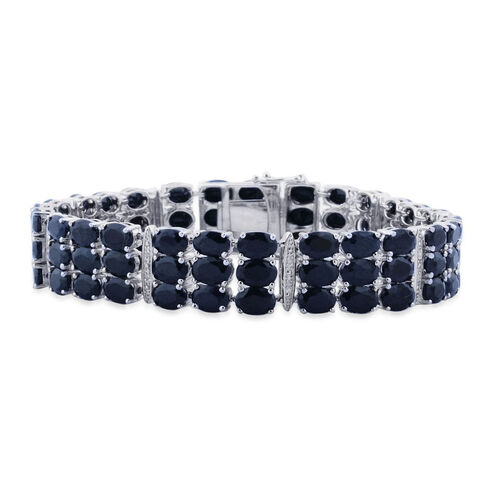 Midnight Blue  Sapphire (Ovl), White Topaz Bracelet (Size 7.5) in Platinum Overlay Sterling Silver 76.855 Ct.