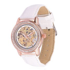 GENOA Automatic Skeleton White Dial with White Austrian Crystal Water Resistant Watch in Rose Gold Tone with Stainless Steel Back and White Colour Strap
