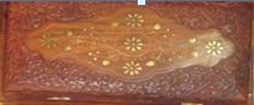Brass Inlay Indian Rosewood Floral and Leaf Carved 2 Tier Jewellery Box (Size 10x6x3.75 inch)