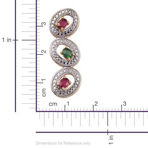 African Ruby (Ovl), Kagem Zambian Emerald Pendant in 14K Gold Overlay Sterling Silver 0.750 Ct.