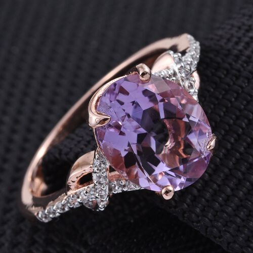 GP Rose De France Amethyst (Ovl 3.05 Ct), Natural Cambodian Zircon and Kanchanaburi Blue Sapphire Ring in Rose Gold Overlay Sterling Silver 3.250 Ct.