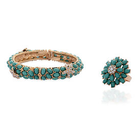 AAA White Austrian Crystal and Simulated Green Stone Bangle (Size 7.50) and Cluster Ring in Gold Tone