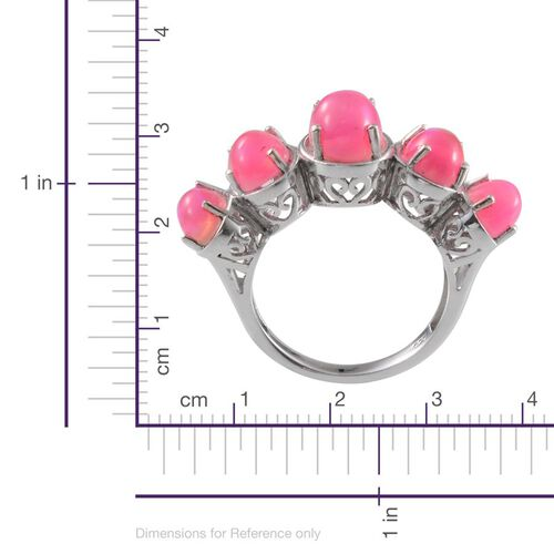 Pink Ethiopian Opal (Ovl 1.00 Ct) 5 Stone Ring in Platinum Overlay Sterling Silver 3.500 Ct.