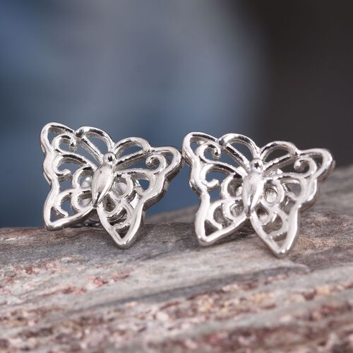 Platinum Overlay Sterling Silver Butterfly Stud Earrings (with Push Back)