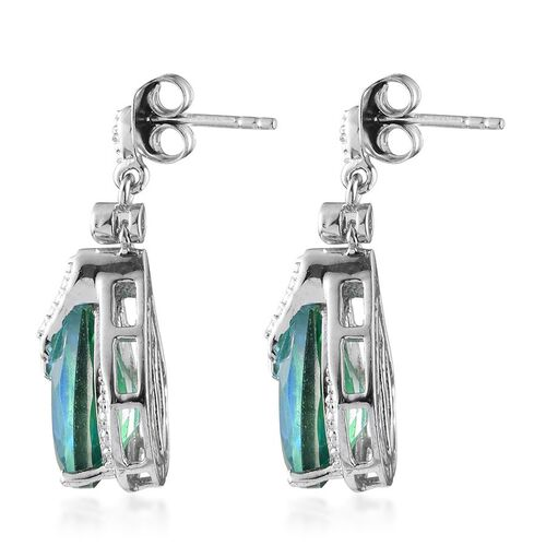 Peacock Quartz (Pear), White Topaz Earrings (with Push Back) in Platinum Overlay Sterling Silver 8.100 Ct.