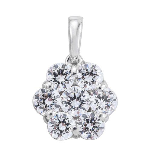 J Francis - Platinum Overlay Sterling Silver (Rnd) 7 Stone Floral Pendant Made with SWAROVSKI ZIRCONIA