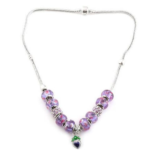 Purple Glass Necklace (Size 18) in Silver Tone