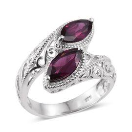 Odisha Rhodolite Garnet (Mrq) Crossover Ring in Platinum Overlay Sterling Silver 2.250 Ct.