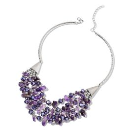 Amethyst, Simulated Iolite and Simulated Silver Pearl Multi Row Necklace (Size 18 with 5 inch Extender) in Silver Tone