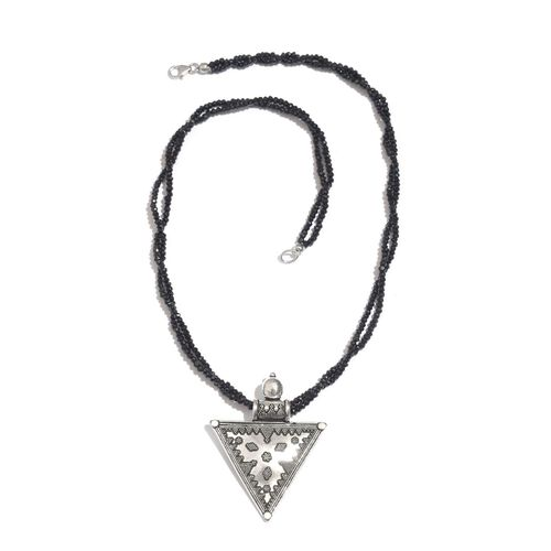 Boi Ploi Black Spinel (Rnd) Necklace (Size 20) in Sterling Silver 95.000 Ct.