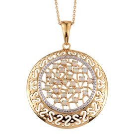 Ethiopian Welo Opal (Rnd) Pendant With Chain in 14K Gold Overlay Sterling Silver 1.000 Ct.