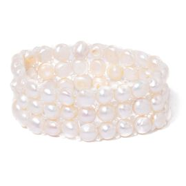 Fresh Water White Pearl and Simulated White Diamond Stretchable Bracelet (Size 7.5) 153.550 Ct.