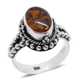 Royal Bali Collection Amber (Ovl) Solitaire Ring in Sterling Silver 1.380 Ct.