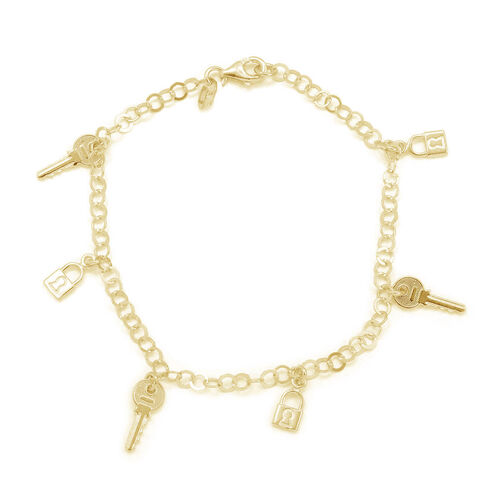 Close Out Deal 14 K Gold Overlay Sterling Silver Bracelet with Keys and Lock Charm (Size 7), Silver wt 4.50 Gms