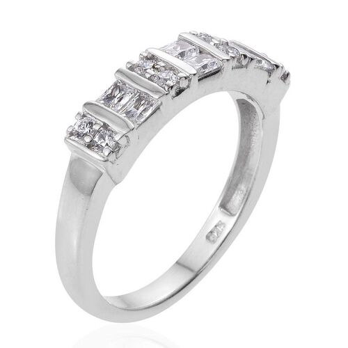Swarovski Zirconia (1.00 Ct) Platinum Overlay Sterling Silver Ring  1.000  Ct.
