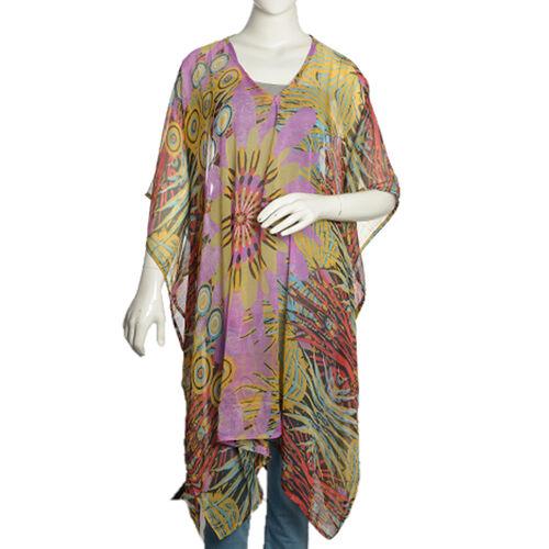 Blue, Purple and Multi Colour Floral Splash Pattern V-Neck Kaftan (Free Size)