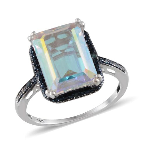 Mercury Mystic Topaz (Oct 8.75 Ct), Blue Diamond Ring in Platinum Overlay Sterling Silver 8.780 Ct.