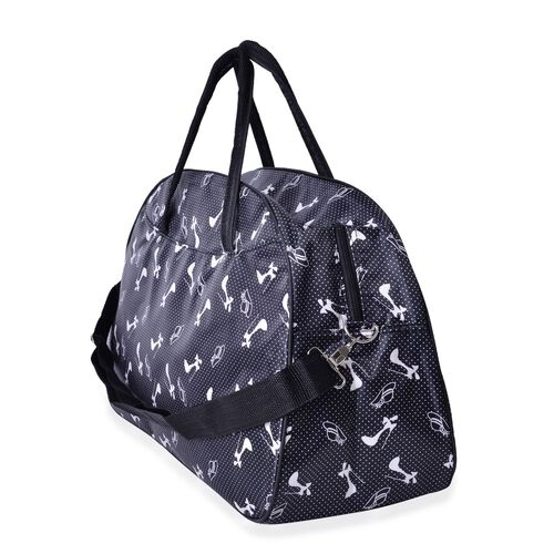 Black and White Colour Colour Dots and High - Heeled Pattern Weekend Bag with External Zipper Pocke and Adjustable Shoulder Strap (Size 50x31x17 Cm)