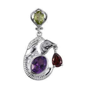 Amethyst (Ovl 1.75 Ct), Mozambique Garnet and Hebei Peridot Pendant in ION Plated Platinum Bond 3.000 Ct.