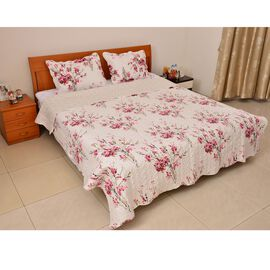 Pink, Green and Multi Colour Floral and Leaves Printed White Colour Quilt (Size 260x240 Cm) and 2 Pillow-Shams (Size 70x50 Cm)
