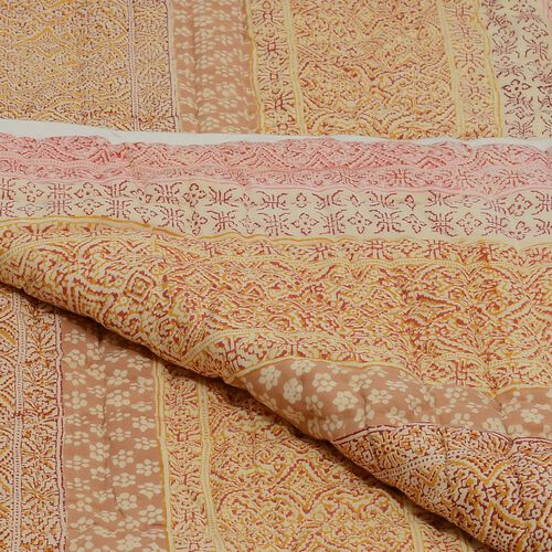 100% Cotton Hand Block Printed Multi Colour Quillow (Size 220x140 Cm)