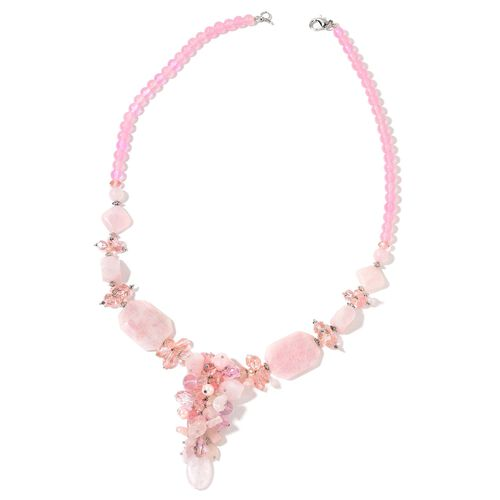 Rose Quartz, Simulated Pink Sapphire, Pink Glass Pearl and Simulated Champagne Diamond Cluster Necklace (Size 29) in Silver Tone 765.00 Ct.