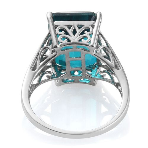 Capri Blue Quartz (Oct) Ring in Platinum Overlay Sterling Silver 13.000 Ct.