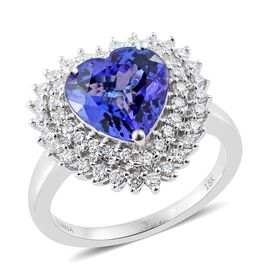 ILIANA 18K White Gold 4.20 Ct AAA Tanzanite Heart Ring with Two Row Diamond SI G-H
