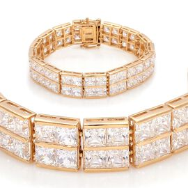 J Francis - 14K Gold Overlay Sterling Silver (Sqr) Bracelet Made with SWAROVSKI ZIRCONIA (Size 7) 45.440 Ct.