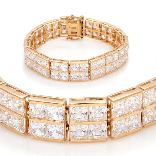 J Francis - 14K Gold Overlay Sterling Silver (Sqr) Bracelet (Size 7) Made with SWAROVSKI ZIRCONIA