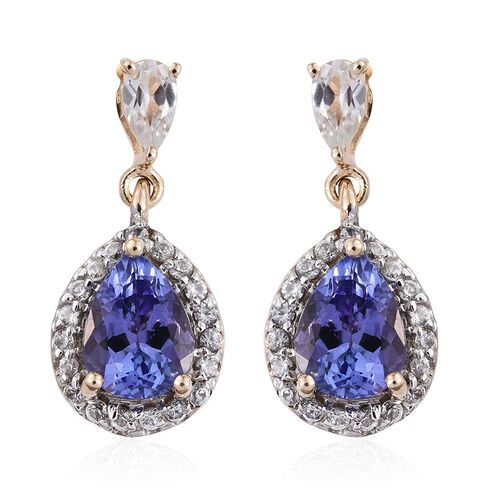 9K Y Gold Tanzanite (Pear), Natural Cambodian Zircon Earrings (with Push Back) 3.500 Ct.