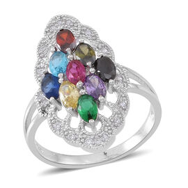 ELANZA AAA Simulated Multi Colour Diamond (Ovl), Simulated White Diamond Ring in Rhodium Plated Sterling Silver