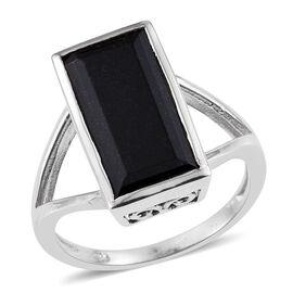 Australian Black Tourmaline (Bgt) Solitaire Ring in Platinum Overlay Sterling Silver 5.750 Ct.