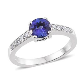 ILIANA 18K W Gold AAA Tanzanite (Rnd 0.75 Ct), Diamond Ring 0.940 Ct.