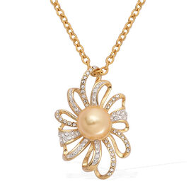 Golden Shell Pearl and White Austrian Crystal Pendant With Chain in ION Plated Yellow Gold Stainless Steel