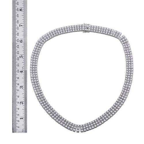 J Francis - Platinum Overlay Sterling Silver (Rnd) Necklace (Size 18) Made with SWAROVSKI ZIRCONIA