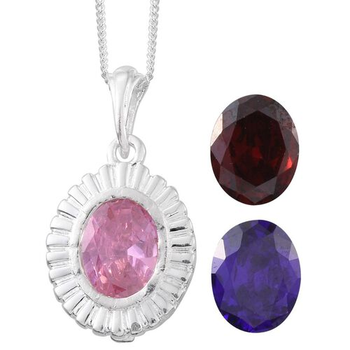 AAA Simulated Blue Sapphire (Ovl), Simulated Pink Sapphire and Simulated Garnet Interchangeable Pendant With Chain in Sterling Silver